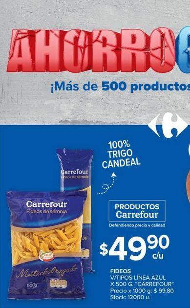 Oferta de Fideos v7tipos linea azul x 500g CARREFOUR  por $49,9