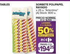 Oferta de Sorbete polipapel rayado x 25UN por $194,25