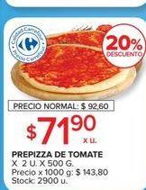 Oferta de Prepizza de tomate x 2un, x 500g  por $71,9