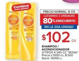Oferta de Shampoo/ acondicionador Sedal por $102