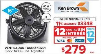 Oferta de Ventiladores Ken Brown por $3348