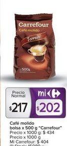 Oferta de Café molido bolsa x 500g CARREFOUR  por $217