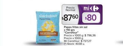 Oferta de Papas fritas sin sal x 110grs CARREFOUR  por $87,6