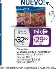 Oferta de Chocolate v/sabores x 30g CARREFOUR  por $32,6