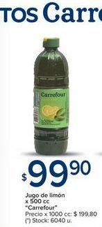 Oferta de Jugo de limon x 500cc CARREFOUR  por $99,9