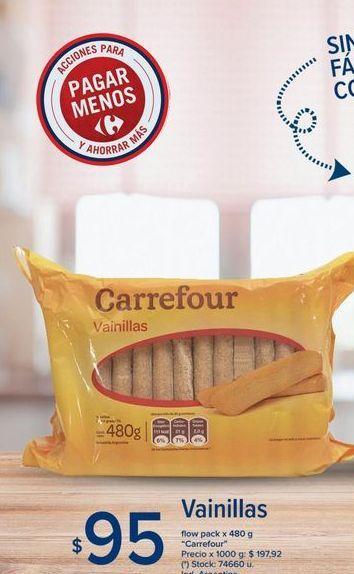 Oferta de Vainillas flow pack x 480g Carrefour  por $95