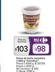 Oferta de Dulce de leche repostero x 400g CARREFOUR  por $103