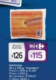 Oferta de Salchichas 10un x 375gr CARREFOUR  por $126