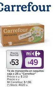 Oferta de Té de manzanilla en saquitos caja x 25un. CARREFOUR  por $53