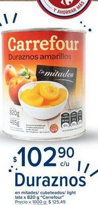 Oferta de Duraznos en mitades/cubeteados/light lata x 820g CARREFOUR  por $102,9