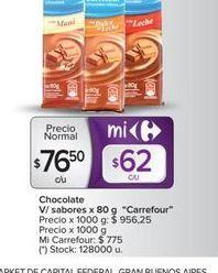 Oferta de Chocolate v/sabores x 80g CARREFOUR  por $76,5