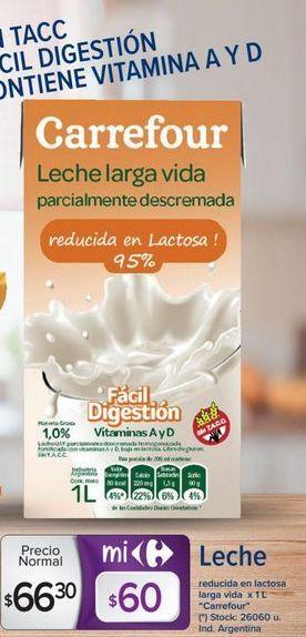 Oferta de Leche reducida en lactosa larga vida x 1lt Carrefour  por $66,3