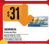 Oferta de Salchichas 66 200grs por $31