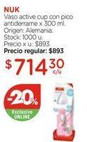 Oferta de Vaso active cup con pico antiderrame x 300 ml. por $714,3