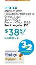 Oferta de Jabón en Barra Hidratación Argan x 85 gr. Protex por $38,67