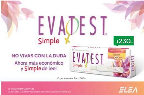 Oferta de EVATEST	Test de Embarazo Simple X 1 u. por $230