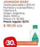 Oferta de Aceite para bebé x 200 ml. Johnson's por $191,1