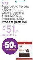 Oferta de Pasas de Uva Morenas x 100 gr. por $51
