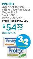 Oferta de Jabón Antibacterial x 125 gr. Protex por $24,33