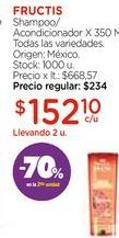 Oferta de Shampoo/Acondicionador X 350 Ml. por $152,1