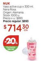 Oferta de Vaso active cup x 300 ml. Nena Rosa. por $714,3
