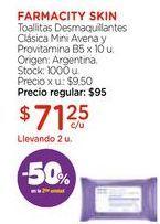 Oferta de Toallitas Desmaquillantes Clásica Mini Avena y Provitamina B5 x 10 u. por $71,25