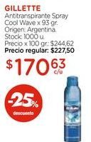 Oferta de Antitranspirante Spray Cool Wave x 93 gr. por $170,63