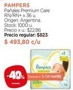 Oferta de Pañales Premium Care RN/RN + x 36 u. por $493,8