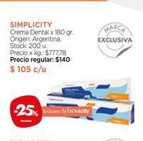 Oferta de Crema Dental x 180 gr. Simplicity por $105