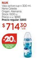 Oferta de Vaso active cup x 300 ml. Nene Celeste. por $714,3