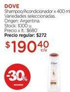 Oferta de Shampoo/Acondicionador x 400 ml. por $190,4