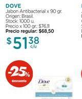 Oferta de Jabon Antibacterial x 90 gr. DOVE  por $51,38