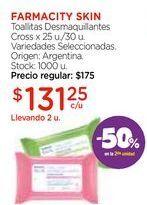 Oferta de Toallitas Desmaquillantes Cross x 25 u./30 u. por $131,25