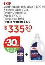 Oferta de Jabón líquido para diluir x 500 ml. + botella vacia x 3 lt. por $335,3