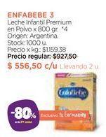 Oferta de Leche Infantil Premium en Polvo x 800 gr. enfabebe 3  por $556,5