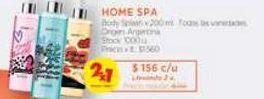 Oferta de Body Splash x 200 ml. Home Spa por $156