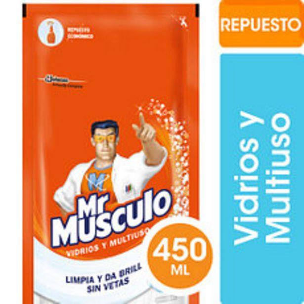 Oferta de Limpiador Líquido Mr Musculo Vidrios DP 500Ml por $49