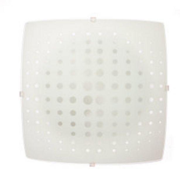Oferta de Plafón Vidrio Cuadrado Blanco 1 Luz 60W por $799