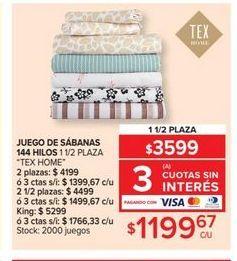 Oferta de Juego de sabanas 144 hilos 1 1/2 plaza  por $1199,67