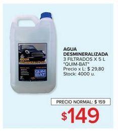 Oferta de Agua desmineralizada 3 filtrados x 5l  por $149