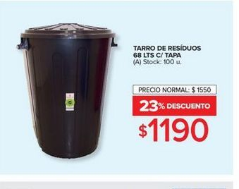Oferta de Tarro de residuos 68lts c/tapa  por $1190