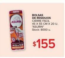 Oferta de Bolsa de residuos cierre facil 45x55 cm x 20u ASURIN  por $155