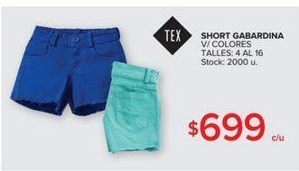 Oferta de Short gabardina v/colores  por $699