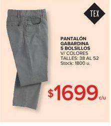 Oferta de Pantalon gabardina 5 bolsillos  por $1699