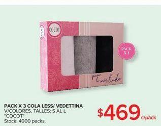 Oferta de Pack x 3 cola less/vedettina  COCOT por $469
