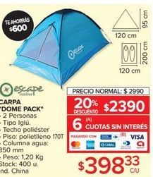 "Oferta de Carpa ""Dome pack"" por $2990"