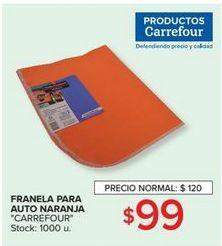 Oferta de Franela para auto naranja  por $99