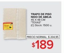 Oferta de Trapo de piso nido de abeja 45x48cm TEXAS  por $189