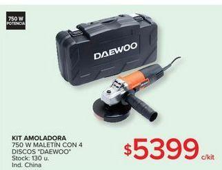 Oferta de Kit amoladora 750w maletin con 4 discos DAEWOO por $5399