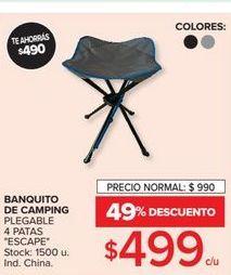 Oferta de Banquito de camping plegable 4 patas escape  por $499